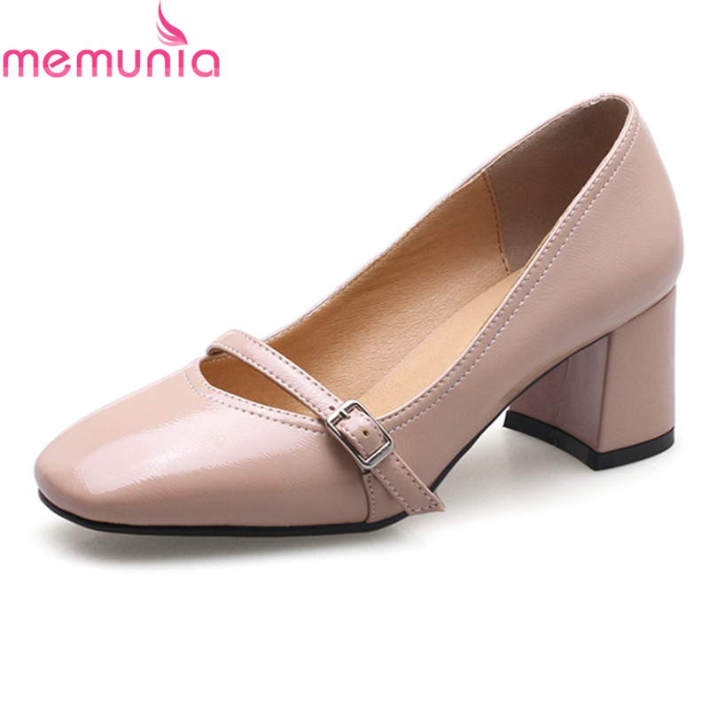 MEMUNIA plus size 34-43 2018 hot sale med heels square toe women pumps high quality patent leather solid dress shoes<br>