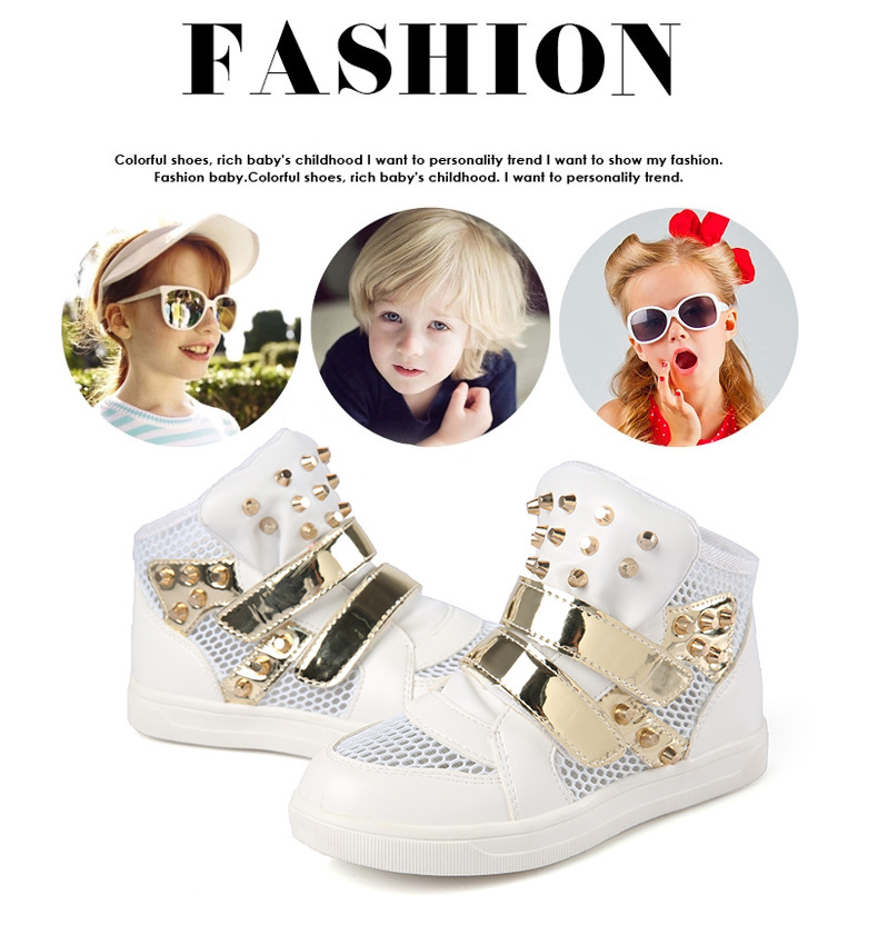 Kids Shoes Glowing Sneakers Baby Boys Girls Sport Shoes New Autumn tenis infantil Children Sneakers Black White with Gold Rivet 3