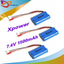 3pcs 7.4 V 1500 mah Xpower li-po lipo battery for DH9053 9101 mjx f45 9118 rc Helicopter parts(China)