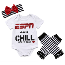 3 Pcs Baby Bodysuit Sets Newborn Infant Babies Boy Girl Letter Bodysuits Playsuit  Jumpsuit+Leg Warmers+Headband Outfit