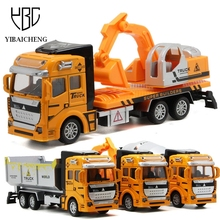 1:48 Pull Back Alloy Engineering vehicles Model Dump Truck Car Toys For Children Boys Diecast Puzzle Juguetes New Year Gifts Toy