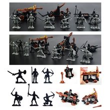 14 pcs/set Knights Medieval Toy Catapult Crossbow Soldiers Figures Playset Plastic Model Toys Gift For Children Adult