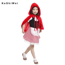 M L XL Children's Halloween Costumes Girls Little Red Riding Hood Costume with Cloak Kids Little Red Riding Hood Cosplay(China)