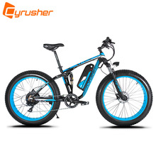 Cyrusher XF800 1000W 48V 50 KM/H Electric Bike Full Suspension 7 Speeds Fat Bike Hydraulic Disc Brake with Smart Computer Ebike(China)