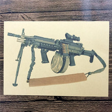 FI-093 Free ship vintage poster Retro Kraft paper about big machine gun pictures wall art craft sticker home decoration 42x30 cm