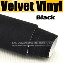 10/20/30/40/50/60x152CM/Lot Black Color Promotion suede fabric velvet for car wrap vinyl interior and exterior decoration(China)