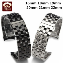 High Quality 316L Stainless Steel Watchband Curved End Silver/Black Bracelet 16mm 20mm 19mm 18mm 22mm Solid Band General Used