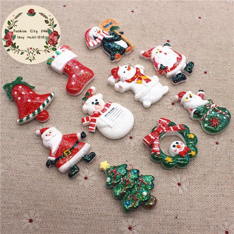 Flatback Cabochon Santa Clause  Christmas Ornament Snowman  Resin Accessories
