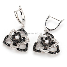 The new product Romantic Promotion White Cubic Zirconia and Black Cubic Zirconia sporty Silver Plated Beautiful  Earrings R921