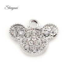 Buy 15*19mm Crystal Silver Anime Minnie Mouse Charms Pendants Jewelry Making Diy European Charm Handmade Crafts for $6.55 in AliExpress store