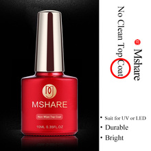 MSHARE 10ML Soak Off No Wipe Top Coat Gel Polish UV LED Nail Art Care Manicure Do not scrub the surface gel 2017 new products(China)
