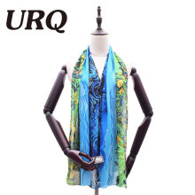 URQ Brand Woman Chiffon Scarf New Woman Scarf Pop Style Flower Artist Print silk Chiffon Scarves Summer Shawl P5A16780(China)