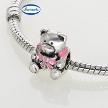 Hot Sale Metal Charms Silver Tone Original Design Beads Enamel Pink Heart Charms Bowknot Teddy Bears European Mixed Lot Beads