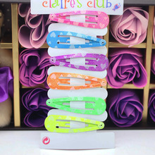 6 pieces/lot colorful snap hair clips print glitter neon color hairpins for women baby girls hair accessories