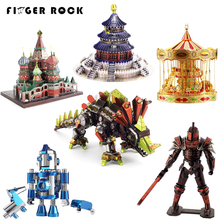 Finger Rock Simulation 3D Colored Metal Puzzle Motorcycle Architecture Army Battleship Tank Suv Vehicle DIY Assembly Model Toys(China)
