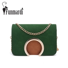 FUNMARDI Metal Ring design Nubuck Leather messenger bag New Fashion chain crossbody bags Trendy mini women leather WLHB1564 - Funmardi Store store