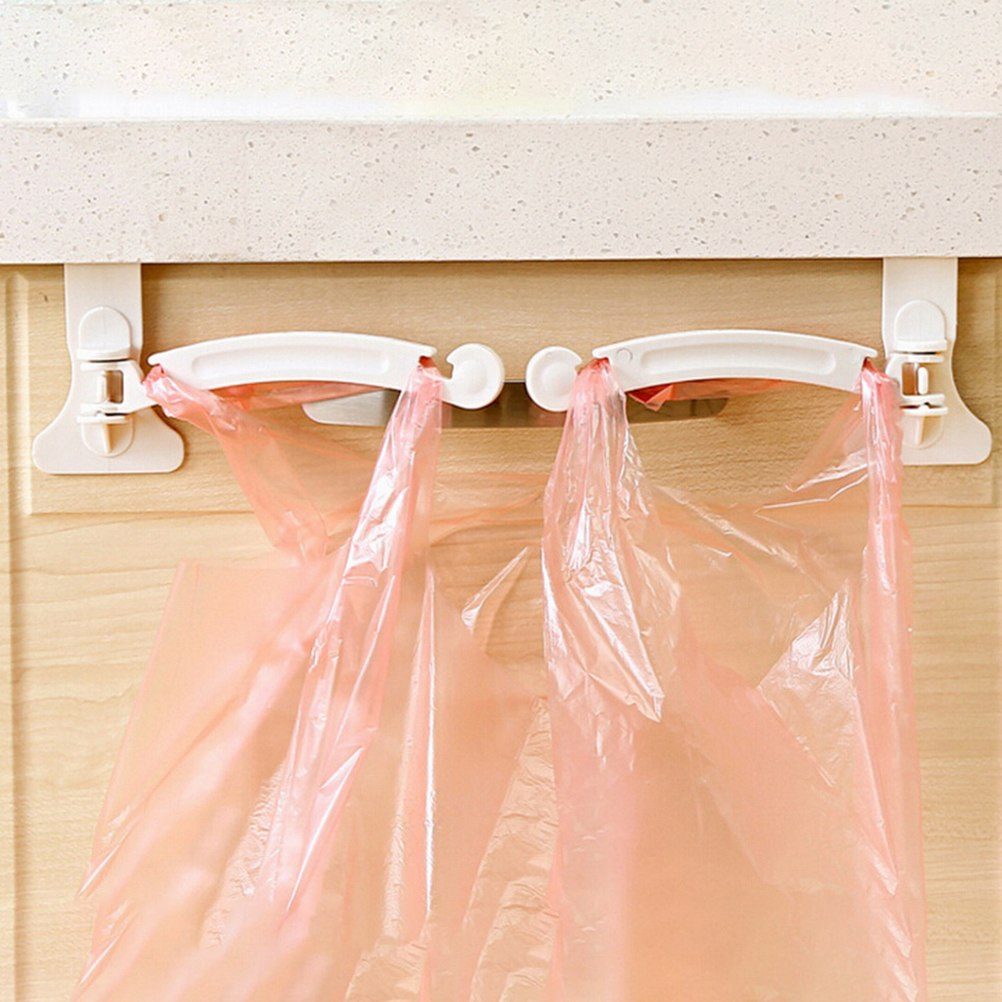 Home Kitchen Dining White Premium Hanging Kitchen Cupboard Cabinet Door Tailgate Stand Storage Garbage Bags Hooks Rack 2Pcs