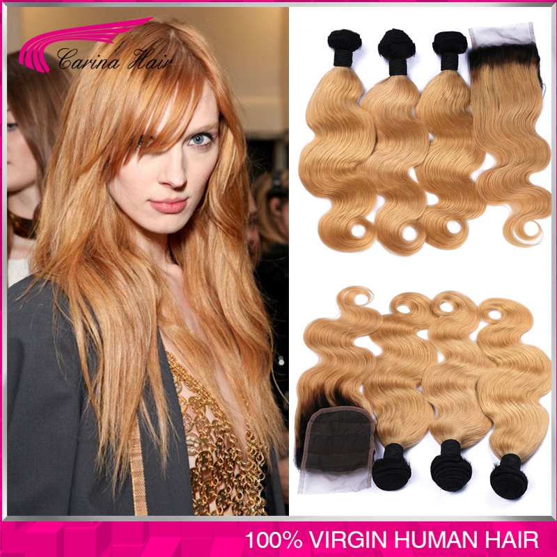 Blonde Weave Bundles Peruvian Ombre Human Hair 1B 27 Body Wave Cheap Two Tone Ombre Peruvian Hair Body Wave 3 pcs with closure<br><br>Aliexpress