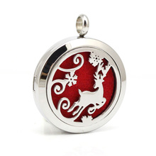 Stailess Steel Elk Design Perfume Pendant Aromatherapy Essential Oils Diffuser Locket Necklace