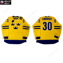 Beast Beat Sweden Ice Hockey Jerseys  #30 Lundqvist Throwback Team Jersey Winter Windbreak Warm Hockey Wholesale Sports Ware