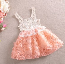 Retail 2014 Fashion Baby Girl Dresses Rose Children red purple pink Lace Flower Dress Princess Kids Sling Dess Free shipping(China)