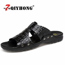 Buy Genuine Leather Slippers Men Summer Sandals Breathable QIYHONG Brand Designer Stylish Shoes Real Leather Seaside Beach Flats for $16.38 in AliExpress store