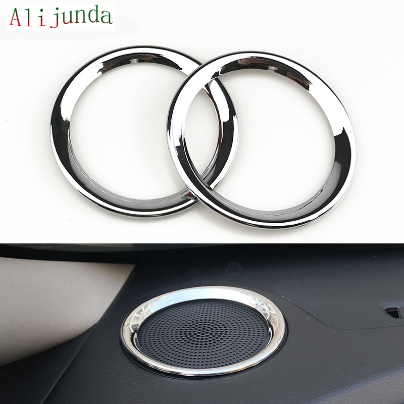 ABS Chrome Car High Position speaker Sound Decoration Ring for KIA K3 per set Car Styling Accessories for 2 pieces(China (Mainland))