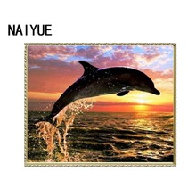 5D DIY Jumping dolphin Diamond Painting Cross Stitch Animal Embroidery Rhinestone Pasted Home Decorative Paintings
