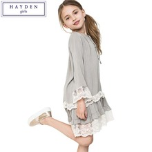 HAYDEN Girls Dresses Age 10 11 12 Years Vintage Girls Ruffle Lace Dress Girl Clothes Size 7 to 14 Brand Dress Kids 2017 Spring