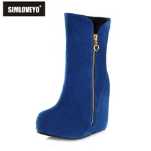 SIMLOVEYO Big size 32-43 New Famale winter boots Snow boots Wedged heel Flock Zipper Platform High heels boots Warm Fashion Cute