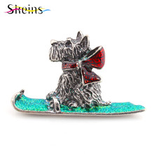 SKEINS Animal Brooches For women Enamel Pin Female Skiing Pug Dog Brooch Kids Pins Men Denim Jacket Brooches Lapel Jewelry Rozet(China)