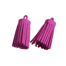 Wholesale Fuchsia Hot Pink Velvet Suede Tassel Pendants For Cellphone Curtain Garment Jewelry Making 35mm, 10 PCs