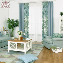 FINO Nordic Blue Curtains Fabric For Bedroom Green fern Window Drapes Solid Gray Panels Insulated Thermal Home Blackout Curtain(China)