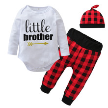 3PCS Casual Autumn Letter Little Brother Romper Tops+Red lattice Pants+Hat Baby Boys Clothing Set Newborn Toddler Clothes Suit
