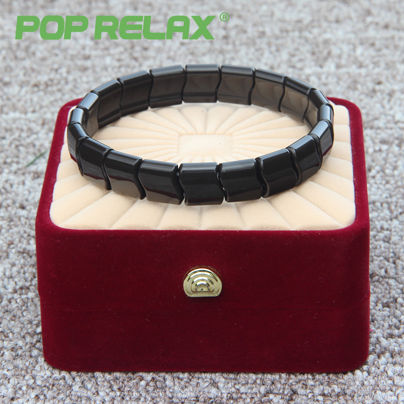 POP RELAX Germanium tourmaline ion bracelet for health physiotherapy energy health care natural bio massage stone bracelet B20<br>
