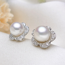 925 silver real natural big The only Olympic Circle Natural Pearl Earrings 925 Sterling Silver Earrings flowers sweet bag mail(China)