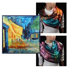 90cm*90cm 2017 New Arrival Women Vincent Van Gogh Oil Painting Coffee House Big Size Silk Scarf Women Shawls Girl Wraps NEW C2