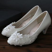 Lace appliques white wedding shoes for women brand new design  pearls low high heels bridal party dress pumps womens