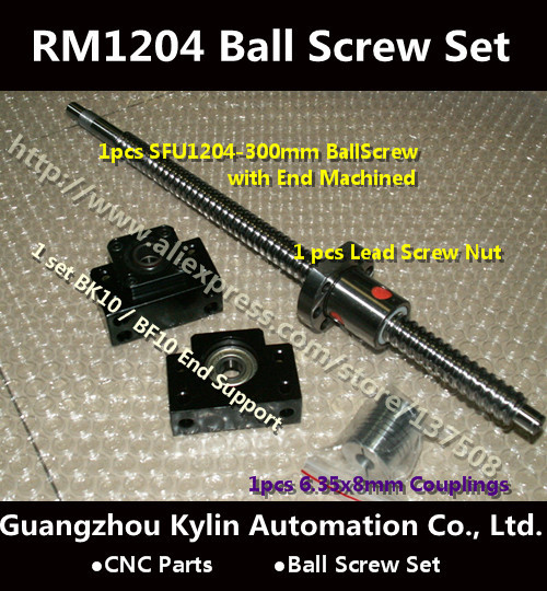 On Sale!1 Anti Ballscrew RM1204- L300mm Ball screw + SFU1204 Ballnut + BK10 BF10 End Support + 6.35*8 Coupler For CNC Part<br><br>Aliexpress