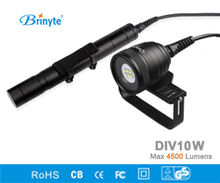 Brinyte DIV10W LED Canister Video Light CREE XML2 4500lm LED Scuba Diving Torch Flashlight 200M Underwater 3*26650 Battery Lamp(China)