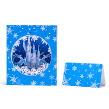 Icy Castle Pop up Christmas Card Halloween Thanksgiving Greeting Card Merry Christmas Happy New Year Card with Delicate NoteCard(China)