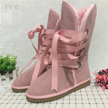 Hot 2017 Australian Style Women Winter Boots Lace Up Suede Leather Brand Ivg Lady Girl Pink ugs Snow Boots Plus Size US 4-13(China)