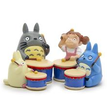 4Pcs/set Cute Studio Ghibli Hayao Miyazaki Totoro PVC Action Figures Toy Drum Group Musical Instruments Blue Totoro Model Toys(China)