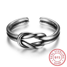 925 Sterling Silver Ring For Women Men Open Cuff with Knot Adjustable Rings Silver Jewelry Best Gifts For Girls (RI102675)(China)
