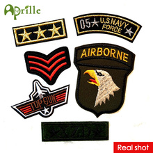 6pcs cute clothes military mark logo patch sew iron on patches for clothing deal with fabric DIY army motif U.S Navy airborne
