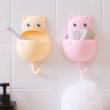 Cute Cat Toothbrush Wall Sucker Holder Suction Hooks Cup Organizer Toothbrush Rack Home Bathroom Kit Kitchen Storage Set(China)
