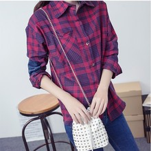 2017 New Fashion 2-color plaid cotton shirt female long-sleeved grid shirt big yards ladies blouses england style cotton tops