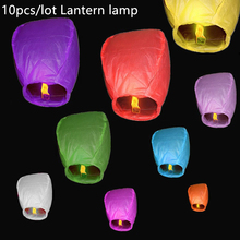 10pcs Multi Color Chinese Lantern Fire Sky Lamp Fly Candle Lamp for Birthday Wedding Party lantern Wish Lamp Hot Air Balloon(China)