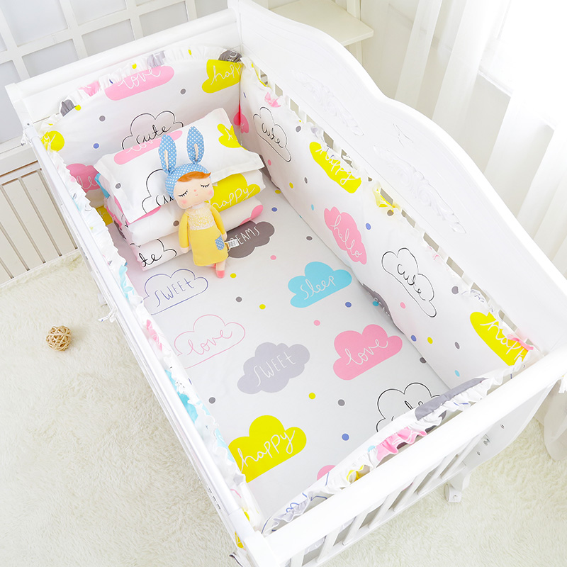 5pcs/set Multi Color and Sizes Baby Crib Romantic Bedding Set Baby Cot Bedclothes Include Protect Bumpers Bed Sheet Pillowcover <br>