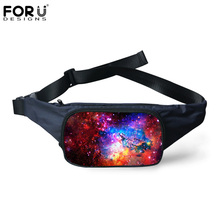 FORUDESIGNS 2017 New Arrival Fashion Waist Bags 3D Galaxy/Space Star Pattern Women Men Canvas Travel Waist Packs Fanny Pack(China)
